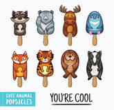 Cute animal popsicles illustration. Vector ice cream set. Set of ice cream on a stick with cartoon animals. Cute animal popsicles collection. You are cool text Stock Photos