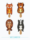 Cute animal popsicles illustration. Vector ice cream set. Sweet summertime. Set of ice cream on a stick with cartoon animals. Cute animal popsicles collection Royalty Free Stock Photos