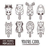 Cute animal popsicles outline illustration. Vector ice cream set. Set of ice cream on a stick with cartoon animals. Cute animal popsicles collection. You are Stock Photos