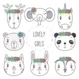 Cute animal portraits doodles Royalty Free Stock Images