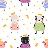 Cute animal princesses seamless pattern. Hand drawn seamless vector pattern with cute animal princesses in crowns, on a white background. Scandinavian style flat Stock Photography
