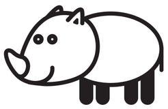 Cute animal rhinoceros - illustration Royalty Free Stock Photography