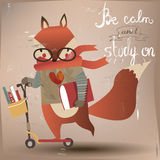 Cute animal on scooter. Cute fox on scooter with books vector illustration