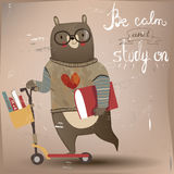 Cute animal on scooter. Cute hare on scooter with books stock illustration
