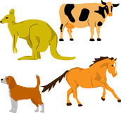 Cute animal set 2. Cow, kangaroo, dog, horse for kids Stock Image