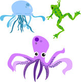 Cute animal set 3. Jellyfish, octopus, frog for kids Royalty Free Stock Photography