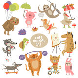 Cute animal set Illustrations with characters Royalty Free Stock Photography