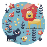 Cute animal set made with cat, lion, bird, flower, plant, leaf, berry, heart, friend Royalty Free Stock Photo