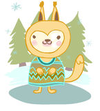 Cute animal squirrel in the winter and the Christmas tree Stock Images