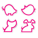 Cute animal sticker paper set Royalty Free Stock Photos