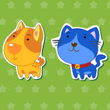 Cute animal stickers 01. Cute animal stickers with dog and cat royalty free illustration