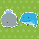 Cute animal stickers 03. Cute animal stickers with dolphin and whale Stock Photo