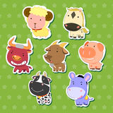 Cute animal stickers 08 Stock Images