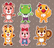 Cute animal stickers Stock Images