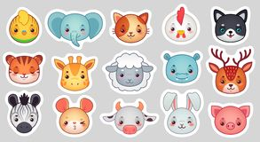Cute animal stickers. Smiling adorable animals faces, kawaii sheep and funny chicken cartoon vector illustration set stock illustration