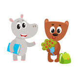 Cute animal student characters, bear with flowers, hippo holding book Royalty Free Stock Photos