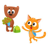 Cute animal student characters, bear holding flowers, cat with backpack Royalty Free Stock Photos