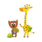 Cute animal student characters, bear holding flowers, giraffe with backpack Royalty Free Stock Image