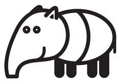 Cute animal tapir - illustration Royalty Free Stock Image