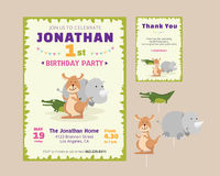 Cute Animal Theme Birthday Party Invitation And Thank You Card Illustration Template. Birthday Party Invitation and thank you card template for children Royalty Free Stock Photography