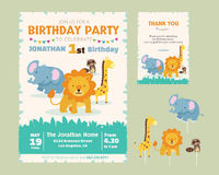 Cute Animal Theme Birthday Party Invitation. Birthday Party Invitation and thank you card template for children Royalty Free Stock Photo