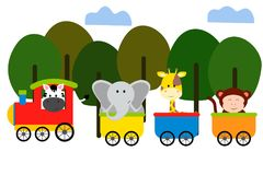 Cute animal on train vector illustration