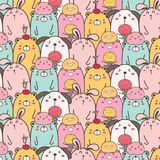 Cute Animal Vector Pattern Background. Fun Doodle. Handmade Vector Illustration vector illustration