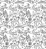 Cute animal wild objects seamless pattern Royalty Free Stock Photo