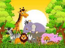 Cute animal wildlife cartoon with forest background Royalty Free Stock Photos