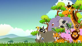 Cute animal wildlife cartoon with forest background Royalty Free Stock Image