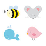Cute Animals. Bee, mouse, bird and whale Stock Photos