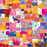 Cute animals in airplanes collage kids pattern stock illustration