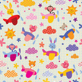 Cute animals in airplanes pattern Stock Photo