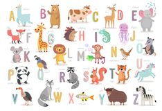 Cute Animals alphabet for kids education. Funny hand drawn style characters. Vector illustration stock illustration
