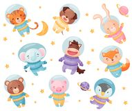 Cute animals in astronaut costumes. Vector illustration on white background. Cute animals in astronaut costumes. Tiger, dog, elephant, hare, horse, fox, bear stock illustration