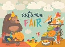 Cute animals on autumn fair. Vector illustrations royalty free illustration