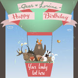 Cute animals on balloon. Birthday card Royalty Free Stock Image