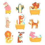 Cute animals bathing and washing in water, set for label design. Hygiene and care, cartoon detailed Illustrations Stock Photos
