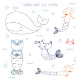 Cute animals being mermaids. Hand drawn vector illustration of a cute whale, mermaid cat, dachshunds, panda, swimming in the sea, with text. Isolated objects on vector illustration