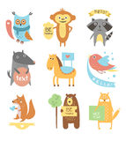 Cute Animals, Birds with Ribbons and Boards for Royalty Free Stock Photos
