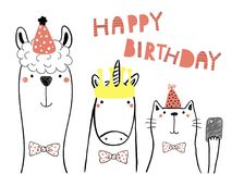 Cute animals birthday card. Hand drawn birthday card with cute funny llama, unicorn, cat in party hats, taking selfie with a smart phone,quote. Isolated objects stock illustration