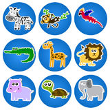 Cute animals in blue circles. Royalty Free Stock Image