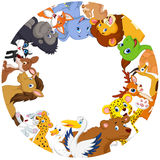 Cute animals cartoon around globe Stock Photo