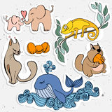 Cute animals cartoon, chameleon, whale with hamster and elephant. Stock Images