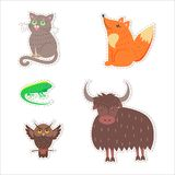 Cute Animals Cartoon Flat Vector Stickers Set. Stickers and icons set of cute wild and domestic animals - funny cat, fox, iguana, owl and yak flat vectors Stock Images