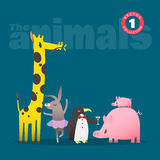 Cute animals cartoon including pig piglet giraffe rabbit and penguin Stock Image