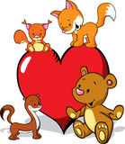 Cute animals cartoon with valentines heart  Royalty Free Stock Photography