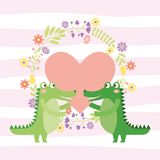 Cute animals cartoons. Cute animals in love cartoons pink background with leaves hearts and flowers vector digital image illustration royalty free illustration