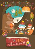 Cute animals celebrating Christmas in den. Vector greeting card Stock Photos