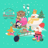 Cute animals celebrating Christmas. Vector greeting card Royalty Free Stock Images
